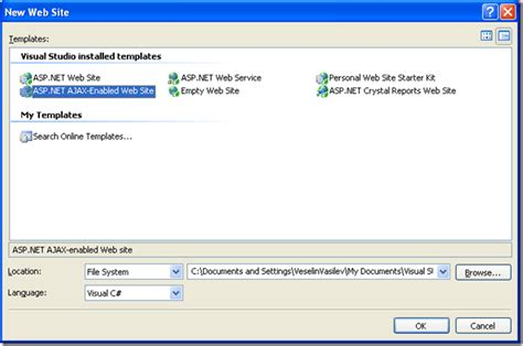 Visual Studio 2008 Where Is The New Asp Net Ajax Enabled We Ajax Website Template
