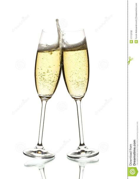Two Glasses Of Sparkling Wine Clinking Stock Photo Image