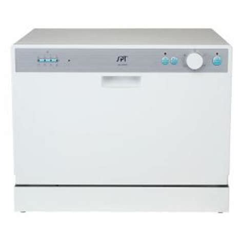 Spt Countertop Dishwasher White spt countertop dishwasher in white with 6 wash cycles and