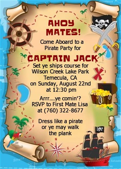 Pirate Treasure Map Birthday Party Invitations Candles And Favors Pirate Treasure Map Invitation Template