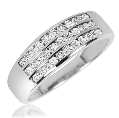 2 1/5 CT. T.W. Diamond Ladies Engagement Ring, Wedding Band, Men's Wedding Band Matching Set 14K