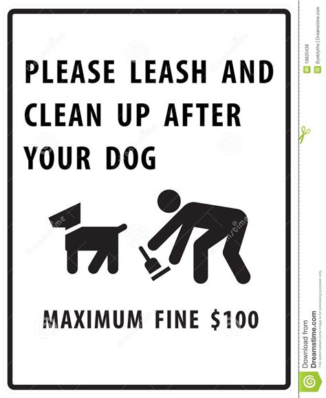 leash your puppy leash and clean up after your sign royalty free stock photos image 19820438