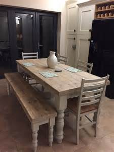 Kitchen Tables With Bench Farmhouse Dining Table With Reclaimed Wood Top And Bench Made