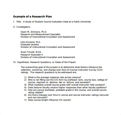 sample research plan templates  ms word