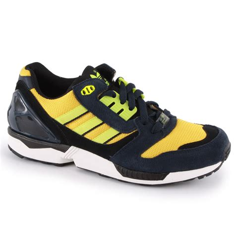 Adidas Navy Yellow adidas zx 8000 mens trainers in navy yellow