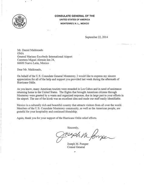 ejemplo de carta para visa canadiense carta de agradecimiento consulado americano