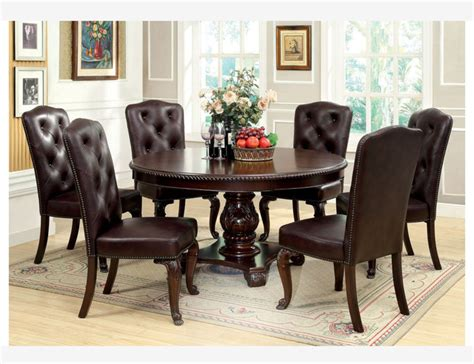 f 7 pc brown cherry wood dining set table chairs