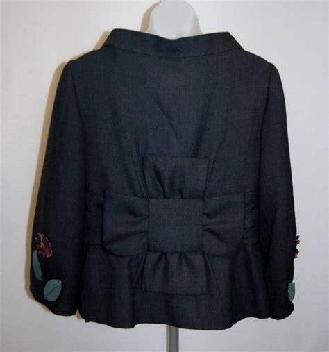 Applique Snap Button Jacket moschino wool blend floral applique jacket