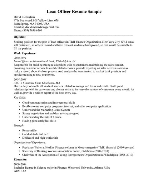 Mortgage Loan Officer Resume by Resume For Loan Officer Resume Ideas