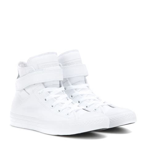 white high top sneakers for lyst converse chuck all leather high