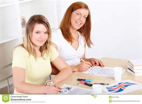 Students Learning At Desk Stock Photo Image 8417320 Students At Desk
