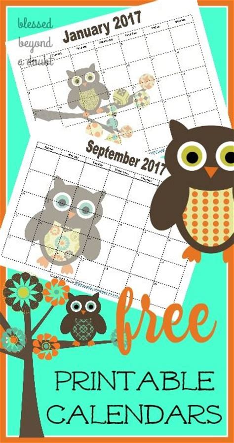 monthly printable calendars owl themed