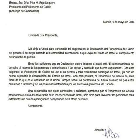 carta formal embajada israel declara enemiga a galicia carta completa embajador sionista de israel en espa 241 a
