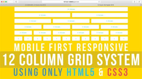 grid layout html5 css3 mobile first responsive 12 column grid system using only