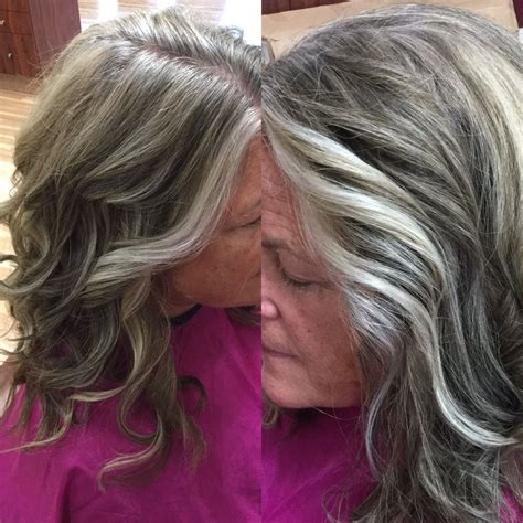 images grey and blond hair blend blending grey on my client kristen grey blending grow