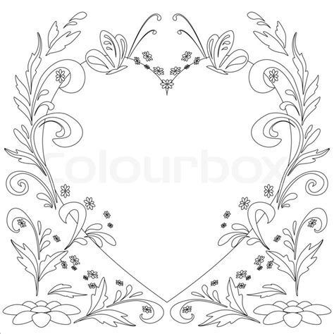 Outline Of Flowers And Butterflies by Abstract Floral Background With Flowers And Butterflies Outline Stock Photo Colourbox