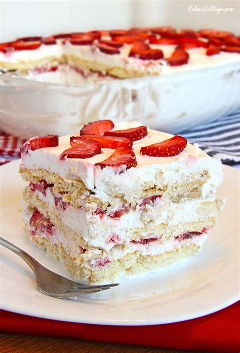 no bake strawberry icebox cake recipe dishmaps
