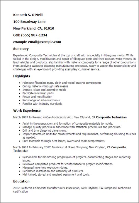 Composite Technician Cover Letter 1 composite technician resume templates try them now myperfectresume