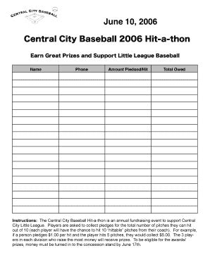 Hit A Thon Pledge Form Fill Online Printable Fillable Blank Pdffiller Hit A Thon Fundraiser Template