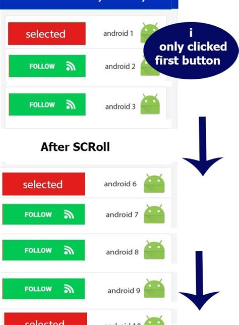 layoutinflater button android listview change button text on clilck android