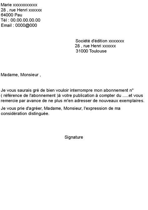 Lettre De R Siliation Abonnement Quotidien lettre pour r 233 silier un abonnement 224 un magazine