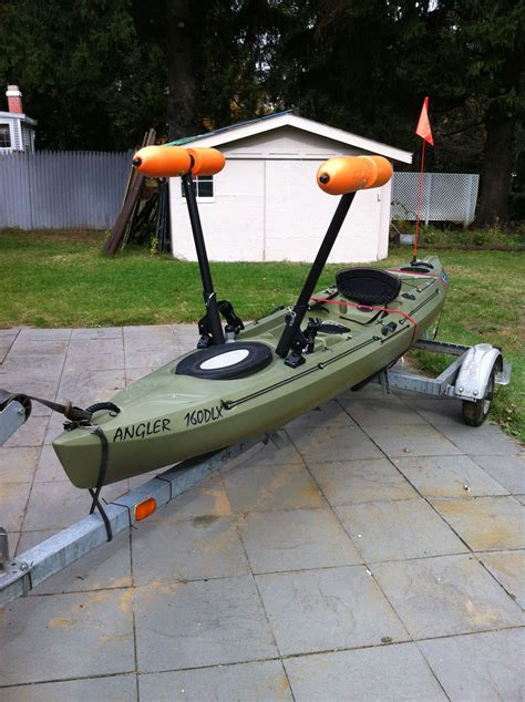 boat with canoe kayak outrigger stabilizer kayak or canoe boat not