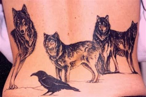 wolf back tattoo wolves on lower back