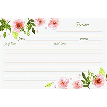 sided 4 x 6 recipe card template jot recipe cards floral sided 4x6 50 count