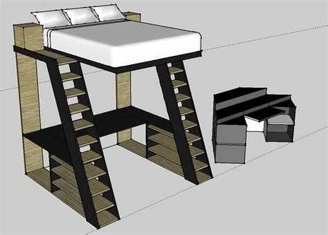 Bed Frame Stilts Concept Image Loft Bed W Desk I Designed In Sketchup For New Place I M Moving Into