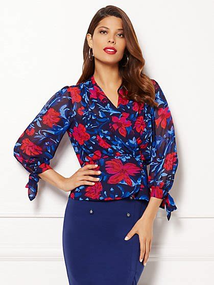 Blouse Brukat Sabrina Zigzag Flower Bunga mendes collection new york and company