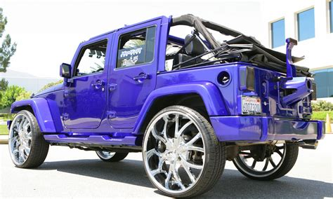dark purple jeep 2010 jeep wrangler on 26 s big rims custom wheels