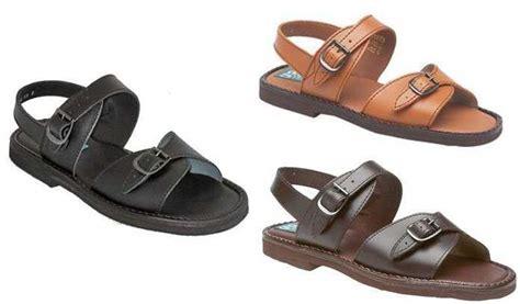 jesus sandals mens mens leather buckle jesus sandals in black brown or