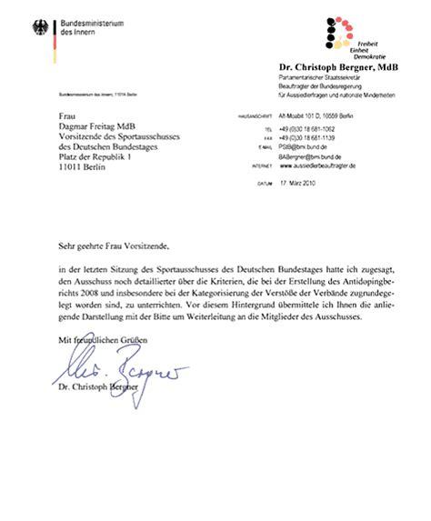Der Offizielle Brief Beispiel Dopingbericht 2008 Und S 228 Umige Verb 228 Nde Christoph Bergners Brief An Dagmar Freitag Sport