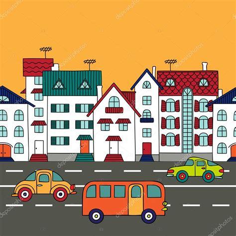 Imagenes De Paisajes Urbanos Animados   paisaje urbano con el transporte por carretera vector de
