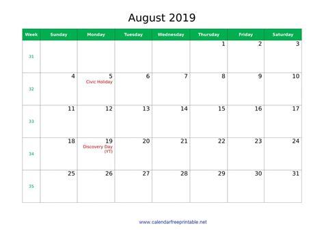 august  holidays calendar