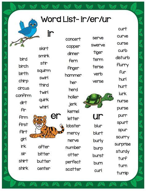 Er Ir Ur Phonics Worksheets by Ir Er Ur Word List Free Educational Blogs