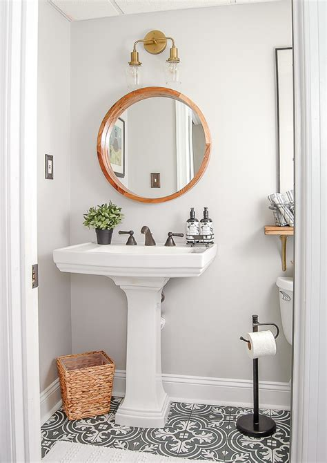 One Room Challenge Reveal Gray And White Vintage Modern Modern Retro Bathroom