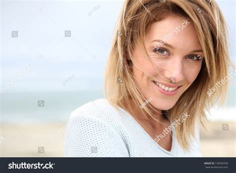 blonde women who are 40 portrait beautiful 40yearold blond woman stock photo