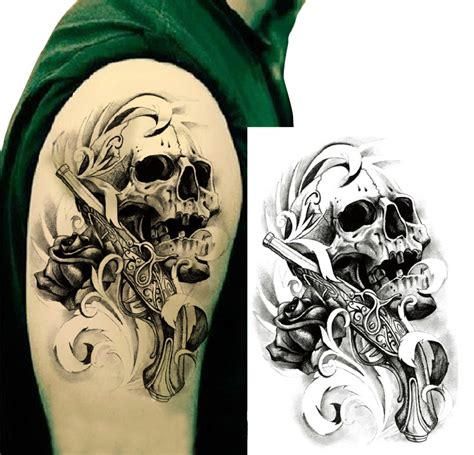 tattoo pattern transfer temporary tattoos large skull gun shoulder arm fake