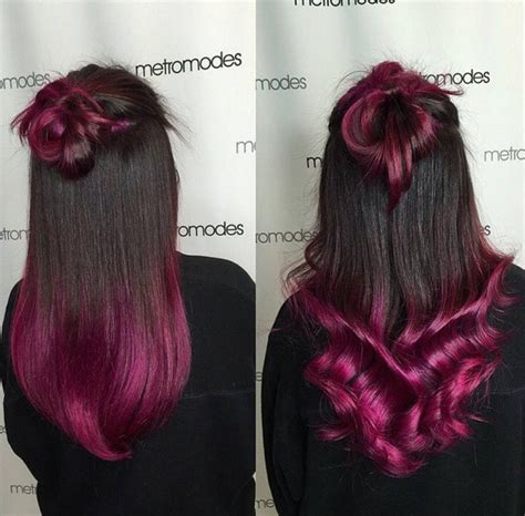 Two tone hair styles with raspberry ombr 233 for weddings amp parties