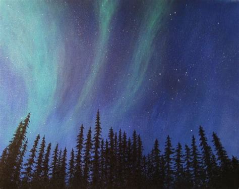 acrylic painting northern lights acrylics canvases and awesome on