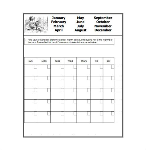 preschool calendar templates calendar template 39 documents in word excel