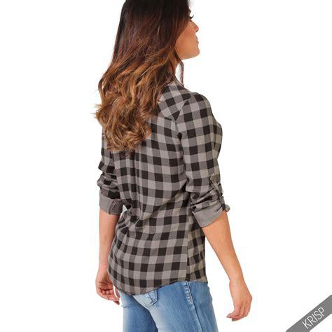 Blouse Tartan Top womens checked tartan plaid print lumberjack sleeve