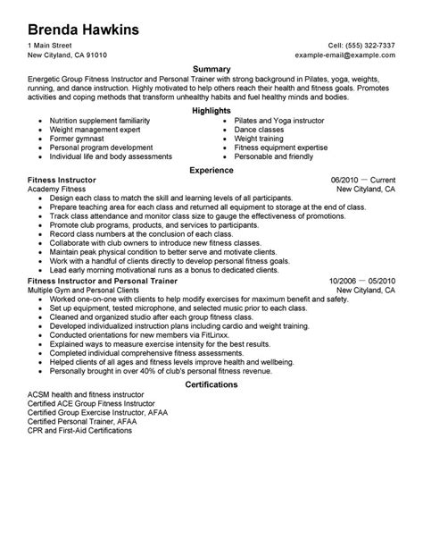 resume format for fitness trainer best fitness and personal trainer resume exle livecareer