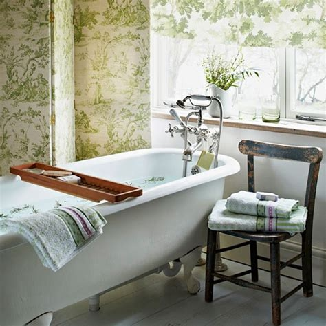 botanical bathroom traditional bathroom with toile screen and blind