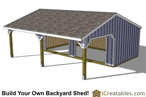 run  lean  shed plans horse barn horse barn plans