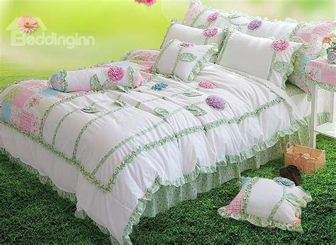 Handmade Duvet Covers - handmade flower embroidered 4 cotton duvet