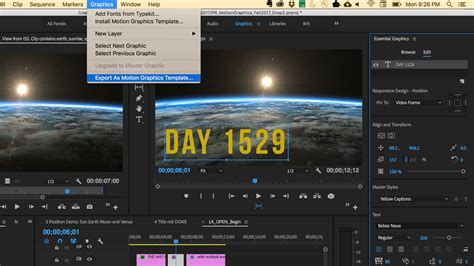 export adobe premiere to after effects create titles and motion graphics with the graphics
