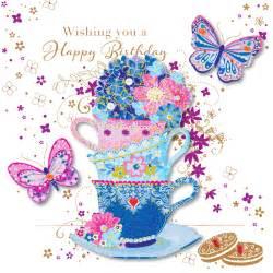 handmade tea cups happy birthday greeting card cards