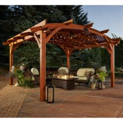 Wood Pergola by Sonoma Arched Wood Pergola 16 X 16 Ft Pergolas At